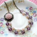 Purple Flower Cabochon Neck..