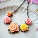 Flower Necklace - Peach Yel..