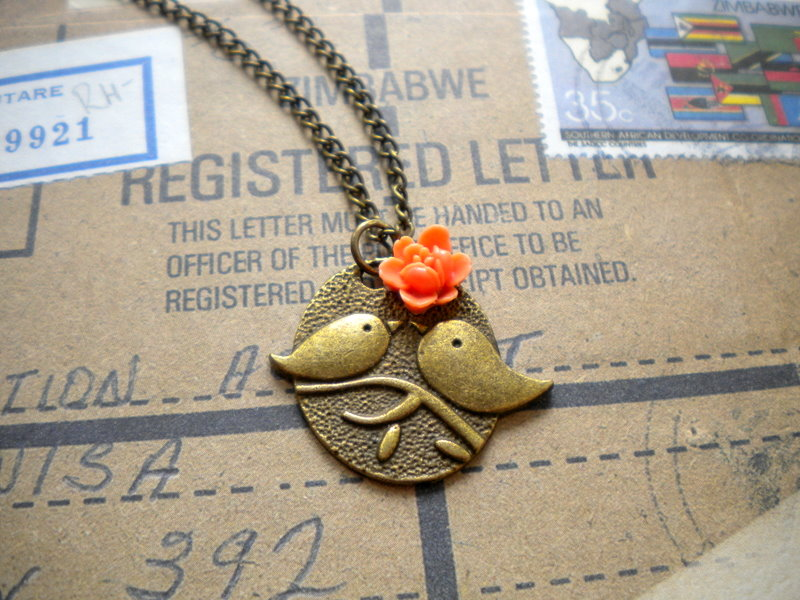 Kissing Couple Pendant - Bird Necklace - Orange Flower Necklace