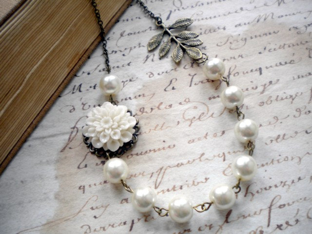 Bridal Necklace - White Glass Pearls - Vintage Bronze Leaf