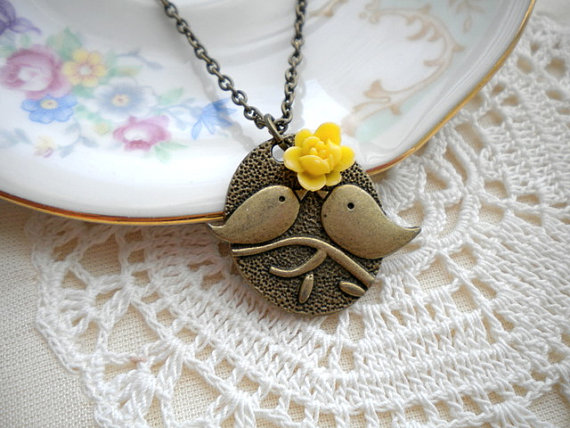 Love Birds Pendant - Bird Necklace