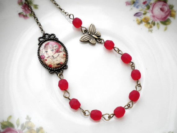 Little Red Riding Hood Necklace - Red Glass Necklace - Fairy tale Necklace
