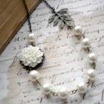Bridal Necklace - White Gla..